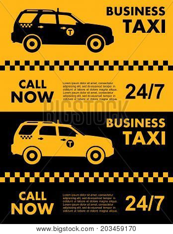 Business taxi service design over yellow and black background. Silhouette of taxi car. Vector flat illustration.