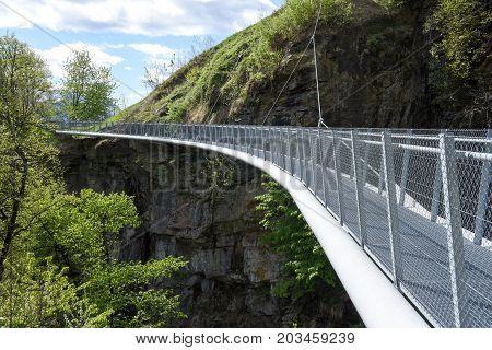 Suspension Bridge Over The River At Leontica