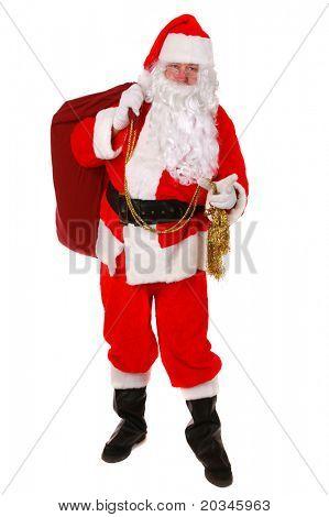 Santa Claus aufstehen auf weißem Hintergrund