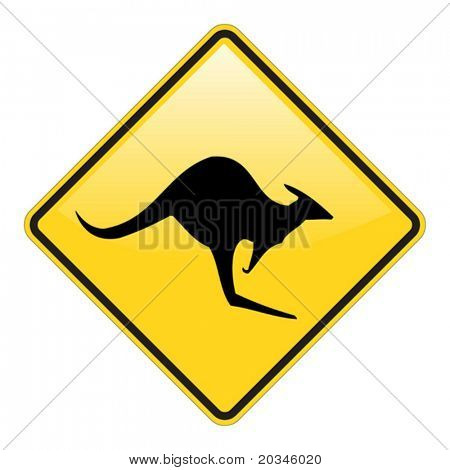 Kangaroo warning sign with glossy effect
