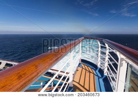 Railing on a luxury cruise ship at sea