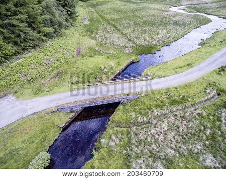Aerial view of the Bridge between Oban and Taynuilt next to the river Nell, Argyll, Scotland