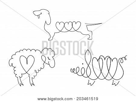 Set of line images of domestic animals - dogs, sheep, pigs. Pets or symbols of the Chinese horoscope. Collection of vector icons of animals. Vector illustration with a wide range of applications.
