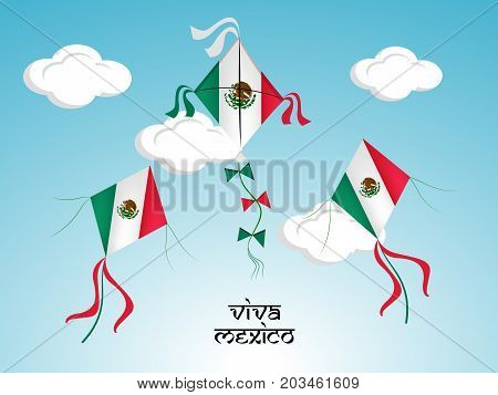 illustration of kites in Mexico flag background with Viva Mexico text on the occasion of Mexico Independence Day