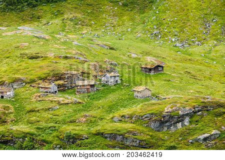 Norwegian Old Country Houses In Mountains.