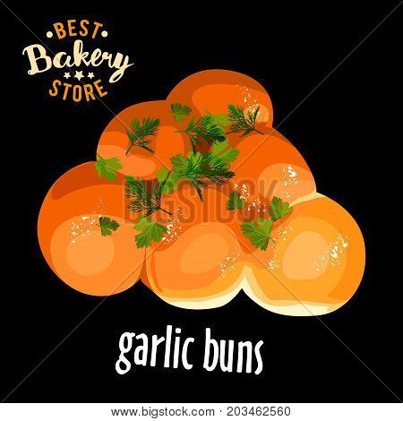 Bakery shop vector lush garlic buns for dinner. Baked bread product.