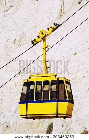Cable car to Rosh HaNikra grotto in North Israel.