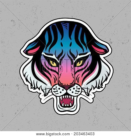 Neon pop wild Cat design - angry tiger face. Classic flash tattoo style patch or element. Traditional stickers, comic pins. Pop art items. Vector collection, stikers kit. Tiger.