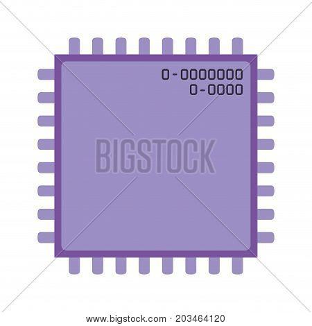 microchip closeup icon silhouette in purple color vector illustration