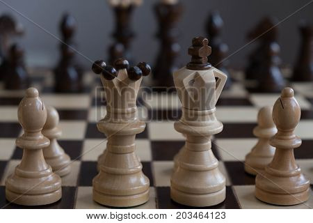 Chess Pawns On The Chessboard. Closeup. Business Strategic Formation In The Chess Game King Is Check