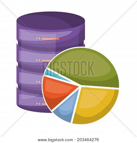 server hosting storage icon colorful and available space circular graphic and shading vector illustration
