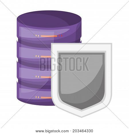 server hosting storage and protection shield icon and shading vector illustration