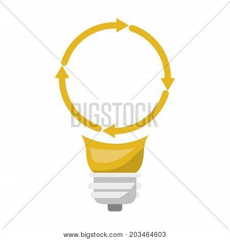 light bulb with reload icon and shading vector illustration