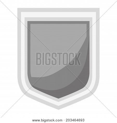 shield icon silhouette in gray color and shading vector illustration