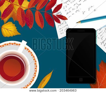 Workspace desk with autumn foliage, smartphone, cup of tea, pencil and handwritten papers with copy space background. Flat lay vector illustration