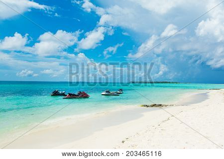 South Atoll Dhidhoofinolhu Maldives - July 07 2017: Beautiful landscape of sandy beach and Indian ocean Maldives