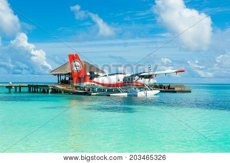 South Atoll Dhidhoofinolhu Maldives - July 04 2017: Hydroplane in the crystal clear turquoise water of the Indian Ocean near tropical islands Maldives July 04 2017