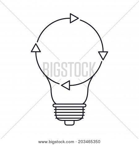 light bulb with reload icon in monochrome silhouette vector illustration