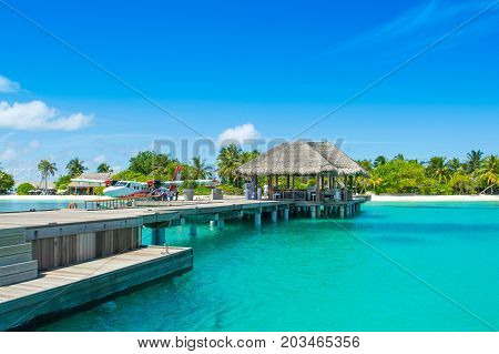 South Atoll Dhidhoofinolhu Maldives - July 04 2017: Hydroplane in the crystal clear turquoise water of the Indian Ocean near tropical islands Maldives