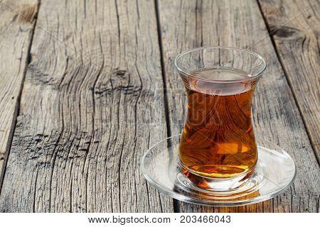 Tulip Shape Glass Cup With Turkish Tea
