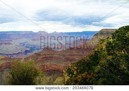 Grand Canyon large view landscape an cloudy sky