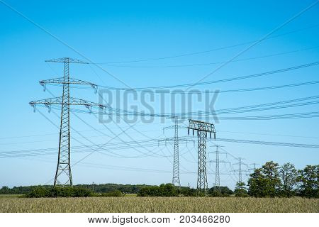Electric pylons and transmission lines seen in Germany
