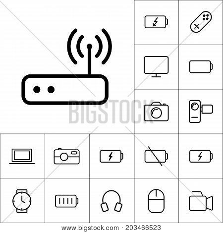 Thin Line Wi-fi Router Icon On White Background, Gadgets Set