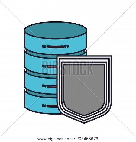 server hosting storage and protection shield icon colorful silhouette with thick contour vector illustration