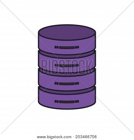 server hosting storage icon colorful silhouette with thick contour vector illustration