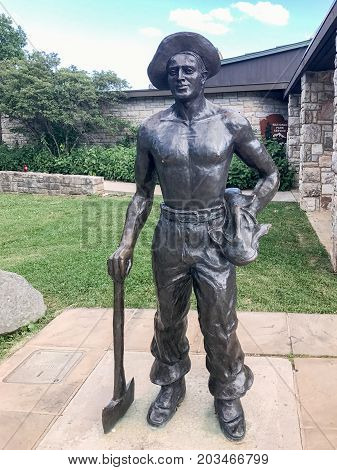 Shenandoah National Park Virginia - July 1 2017: Monument to the worker who helped build Shenandoah National Park at Big Meadows Ranger Station in Shenandoah National Park Virginia.