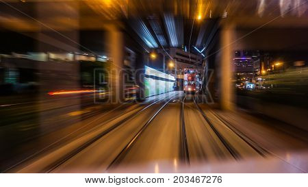 Hong Kong Central Buisness District Area Night View From Moving Tram Transportation Blur