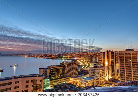 View over Valparaiso in Chile with the Pacific Ocean before sunrise