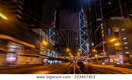 Hong Kong Central buisness district area night view from moving tram transportation