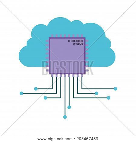 cloud storage data and microchip icon vector illustration