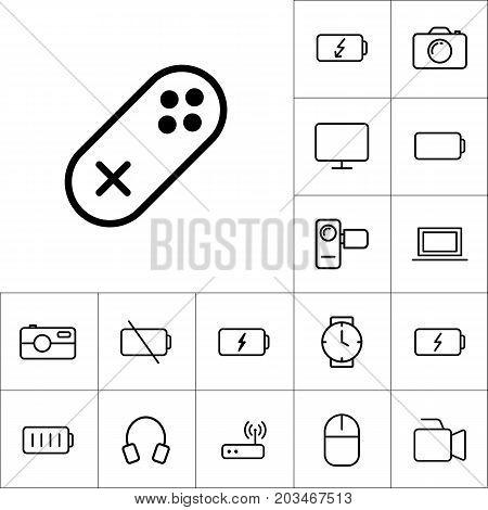 Thin Line Gamepad, Joystick Icon On White Background, Gadgets Se