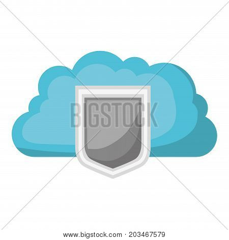 cloud storage data protection shield icon and shading vector illustration
