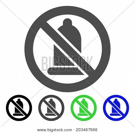 Condom Forbidden icon. Vector illustration style is a flat iconic condom forbidden symbol with black, grey, green, blue color variants. Designed for web and software interfaces.
