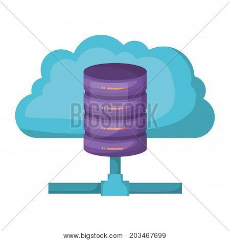 cloud and network server storage icon and shading vector illustration