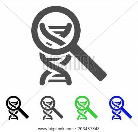 DNA Analysis icon. Vector illustration style is a flat iconic DNA analysis symbol with black, gray, green, blue color variants. Designed for web and software interfaces.