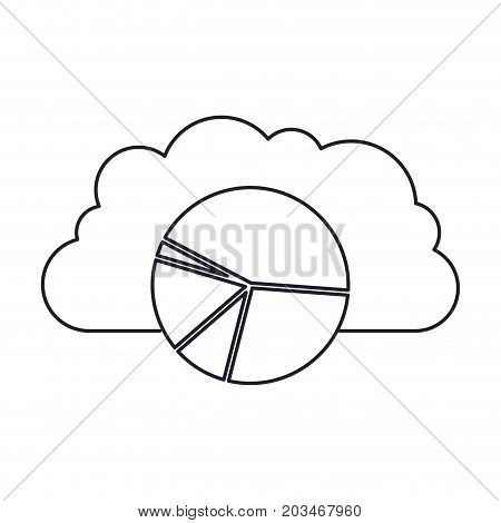 cloud storage data service icon and available space circular graphic in monochrome silhouette vector illustration
