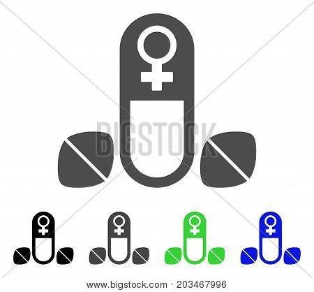 Female Power Tablets icon. Vector illustration style is a flat iconic female power tablets symbol with black, grey, green, blue color variants. Designed for web and software interfaces.
