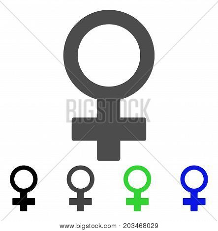 Female Symbol icon. Vector illustration style is a flat iconic female symbol symbol with black, gray, green, blue color versions. Designed for web and software interfaces.
