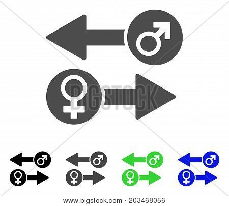 Gender Exchange icon. Vector illustration style is a flat iconic gender exchange symbol with black, gray, green, blue color versions. Designed for web and software interfaces.