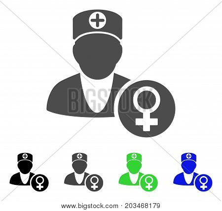 Gynecology Doctor icon. Vector illustration style is a flat iconic gynecology doctor symbol with black, grey, green, blue color versions. Designed for web and software interfaces.