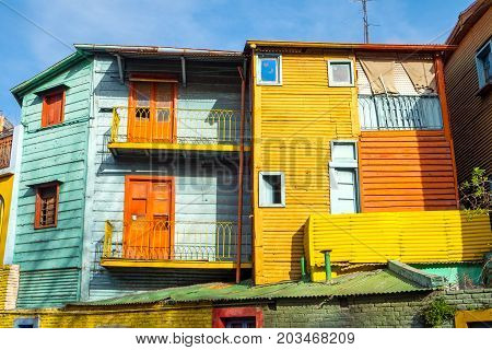 The colorful houses of La Boca in Buenos Aires, Argentina