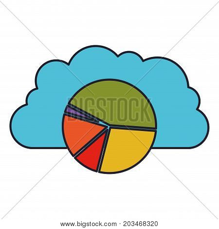 cloud storage data service icon and available space circular graphic colorful silhouette with thick contour vector illustration
