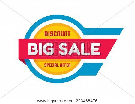 Big sale - vector banner template concept illustration. Discount abstract layout. Special offer. Circle and stripes shapes in red, yellow and blue colors. Design element.