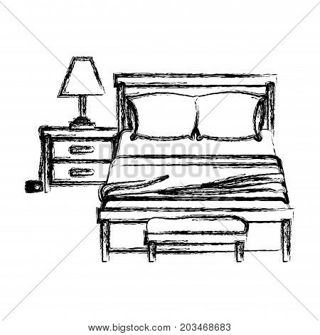 bedroom with lamp over nightstand blurred silhouette on white background vector illustration