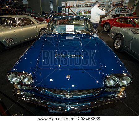 MAASTRICHT NETHERLANDS - JANUARY 09 2015: Sports car Maserati Sebring 3500 Series II 1966. International Exhibition InterClassics & Topmobiel 2015