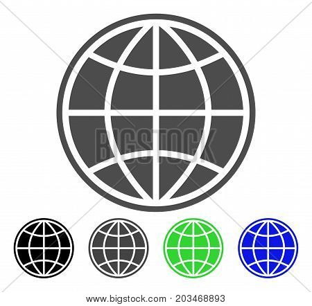 World icon. Vector illustration style is a flat iconic world symbol with black, gray, green, blue color versions. Designed for web and software interfaces.